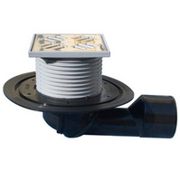 Трап HL для внутренних помещений с решеткой в подрамнике, с поворотным шарниром, с поворотом выпускного патрубка от 0° до 90° HL80.1