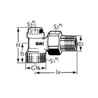 """Heimeier Радиаторный запорно-регулирующий клапан с функцией дренажа REGULUX, DN15(1/2""""), с наружной резьбой, угловой, никел бронза, 0361-02.000"""